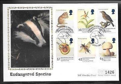 Limited Edition 'Silk' First Day Cover - Endangered Species 20.1.98