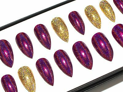 Burgundy & Gold Holo Hand Painted Press On Full Cover False Fake Acrylic Nails
