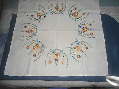 "A Gorgeous White Linen Hand Embroidered Tablecloth 33""  X 32"""