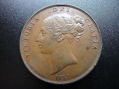 1853 Victoria  Young Head Penny  Detailed Coin Higher Grade