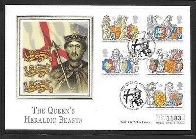 Limited Edition 'Silk' First Day Cover - The Queen's Heraldic Beasts 24.2.98