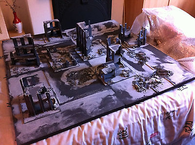 Warhammer 40k Kill team Necromunda Bolt Action Wargames ruined city board 4x4