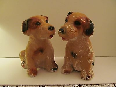 Pair Of Chalkware Dogs