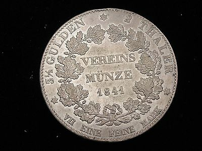 1841 Hesse-Dstdt 2 Thaler Silver Coin Looks XF Km #310