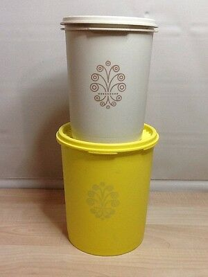 Vintage Tupperware Colored Canisters Beige Yellow & Lids