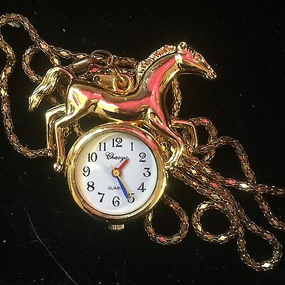 Gold Coloured Horse Watch Necklace Working