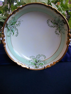 Limoges-Pilkington (Artist)-Serving Bowl-Lily Of The Valley-Green-Gilt!excellent