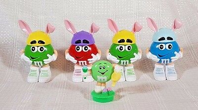 """5 M & M's Plastic Figure Containers Bunny Ears 3.5"""""""