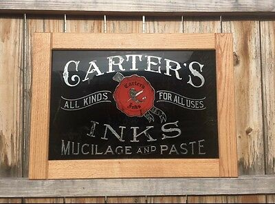 1900's Carters Ink Reverse Painted Glass Advertising Sign