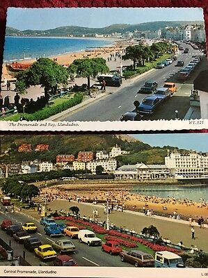 THE PROMENADE & Bay, LLANDUDNO, WALES, POSTCARD,
