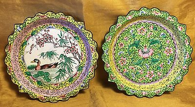 Vtg Pair Chinese Hand Painted Enamel & Copper Scalloped Rim Trays-Duck & Flowers