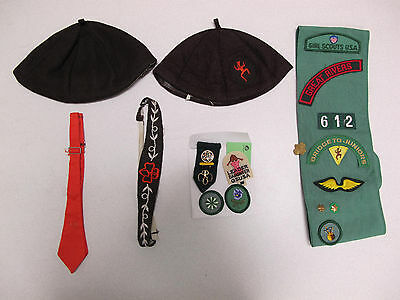 Vintage Brownie Girl Scout Set ~ Hat, Tie, Sash, Patches, Pins ~ Great Condition