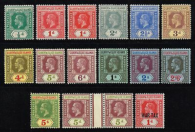 Gilbert & Ellice Islands 1912-24 King George V part set, MH (SG#12/23)