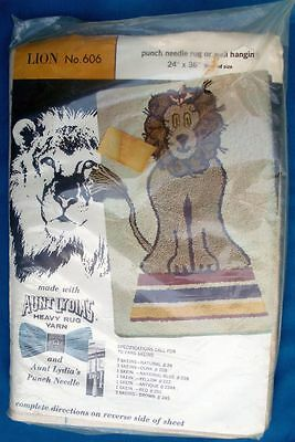 Aunt Lydia's Punch Needle Rug or Wall Hanging Lion 606 Cat NIP NOS 24 x 36