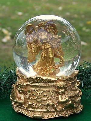 Golden Musical Christmas Angel Snow Dome Battery Operated Snow Globe Ave Maria
