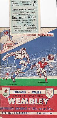 ENGLAND v WALES 1952 @ WEMBLEY + MATCH TICKET