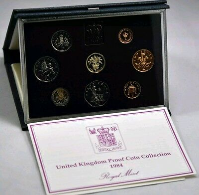 1984 United Kingdom Royal Mint Proof Coin Set Blue Deluxe With COA