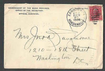 1906-11 Philippines Official Business 2 Page Letter From Moro Province See Info