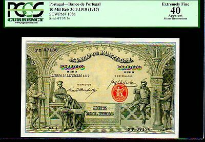 """Portugal P108 10,000 Reis 1910 """"The Artisans"""" Pcgs 40 Only 2 Pcgs Kn"""