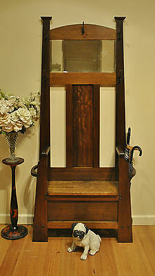 Antique Arts & Crafts Hardwood Hallstand / Hat & Coat / Hall Stand / Hall Seat