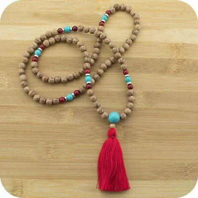 Palmwood Meditation Mala Beads Necklace with Turquoise Magnesite & Red Bamboo Co