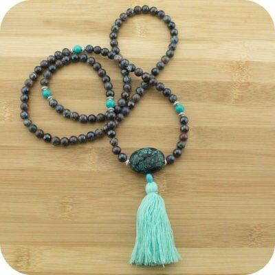 Chrysocolla Mala Beads Necklace with Stabilized Turquoise