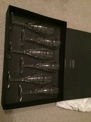 6 x Sierra 24% Lead Crystal Champagne Flutes Boxed New