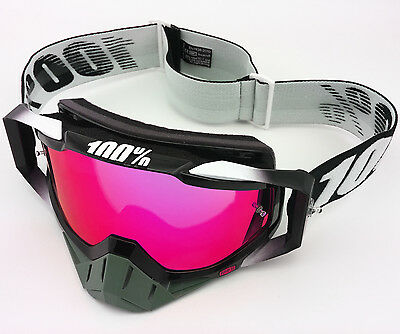 100% PERCENT RACECRAFT MOTOCROSS MX GOGGLES ABYSS BLACK with PINK MIRROR LENS