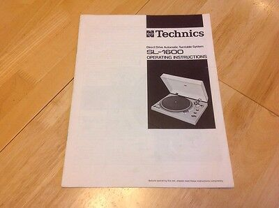 Technics SL-1600 MK1 Turntable Owners Manual / Operating Instructions - Original