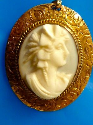 Antique Victorian gold filled carved Conch Shell cameo pin pendant combination