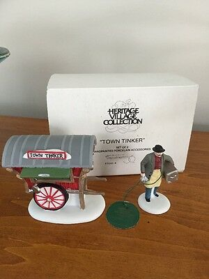 """Dept 56 Heritage Village Collection """"TOWN TINKER"""" set of 2 Figurines box"""
