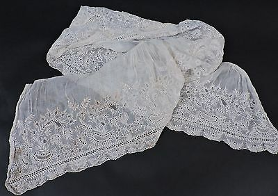 Late 18Th To Early 19Th C Dense Hand Done White Work Flounce From Dress As Found