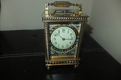 Glorious Victorian  champleve enamel antique repeater carriage clock. wow.