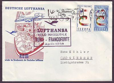 z2647/ Italy First Flight FF Lufthansa Roma-Francoforte Cover 1958