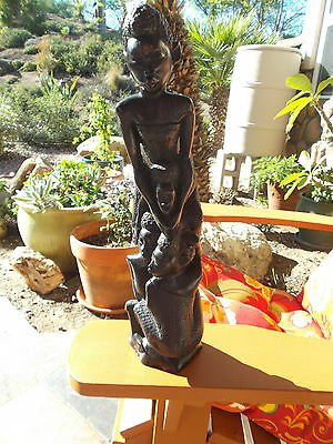 """African Family Of 4 Tree Of Life Carved Sculpture Ebony Wood 13 1/2"""""""