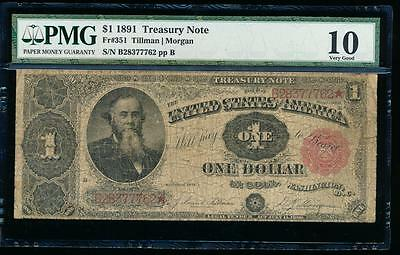 AC Fr 351 1891 $1 Treasury Coin Note STANTON PMG 10