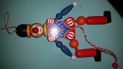~Vintage German Clown Pull String Puppet Christmas Ornaments~