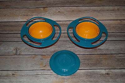 Lot 2 Gyro Non Spill Proof 360 Bowls w/ 1 Lid Toddler Baby Snack Craft Activity