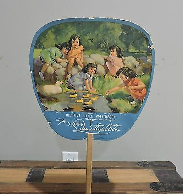 Original Advertising Fan Dionne Quints - C. Hoffmeister Colonial Morturary