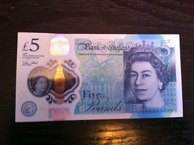 Aa01 - Five Pound Bank Note - New English Sterling - Rare Collector's Item