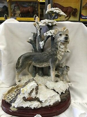 Wolves In The Snow Forest Resin Figurines