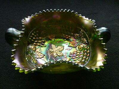 Northwood Carnival Glass Green Grape & Cable Handled Bonbon Super Green Color