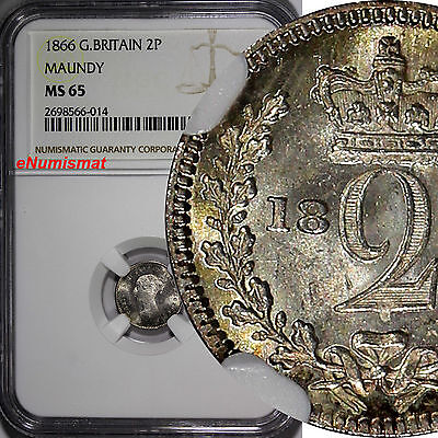 Great Britain Victoria Silver 1866 2 Pence MAUNDY NGC MS65 ProofLike KM# 729