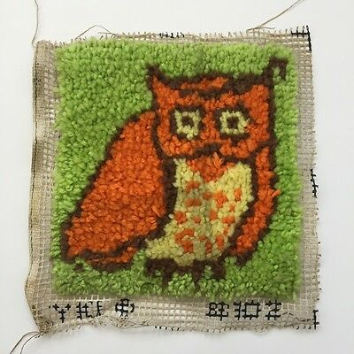 VTG Bright Green Orange OWL LATCH HOOK Rug Wall hanging Pillow Finished 15x15