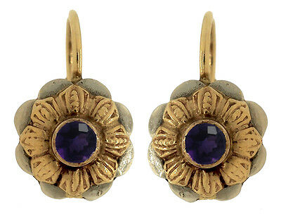 Ladies Vintage 18K 750 Yellow White Gold Floral Amethyst Drop Leverback Earrings