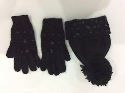 Girls Black Woolly Hat And Gloves - Aged 10-14 M&S