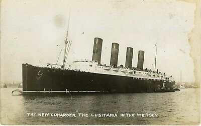 """Liverpool - """"the New Cunarder Rms 'lusitania' In Mersey"""" - Real Photo 1907."""