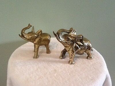2 Vintage Brass Elephant Figure Statues Trunks Up Lucky Figurines