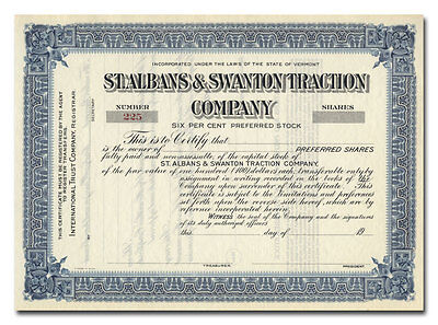 St. Albans & Swanton Traction Company Stock Certificate