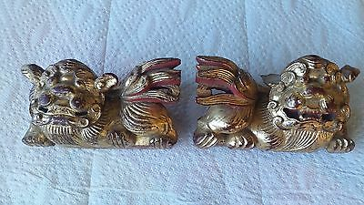 ANTIQUE CHINESE CARVED RED AND GOLD GILT WOODEN FOO DOGS, architectural salvage